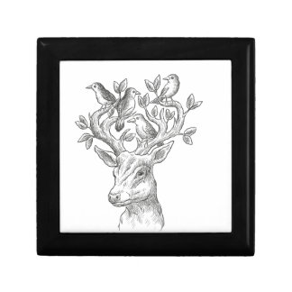 vintage animal deer with birds gift boxes