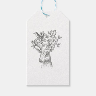 vintage animal deer with birds gift tags