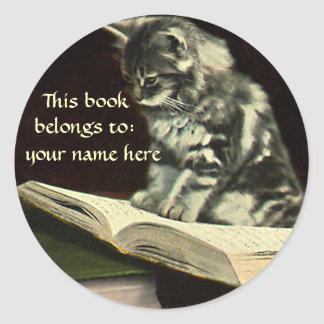 Vintage Animal, Kitten Reading a Book Bookplate Round Sticker