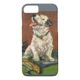 Vintage Animals, Cute Terrier Puppy Chewing Shoes iPhone 8/7 Case