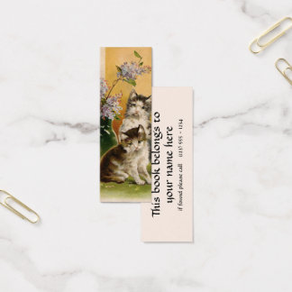 Vintage Animals, Cute Victorian Cats and Flowers Mini Business Card