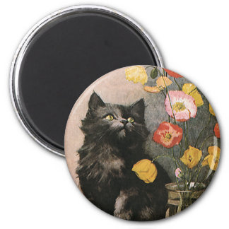 Vintage Animals, Cute Victorian Kitten and Flowers Magnet