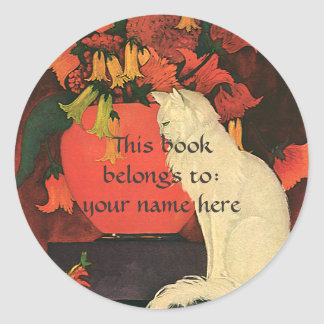 Vintage Animals, Elegant White Cat Bookplate Round Sticker