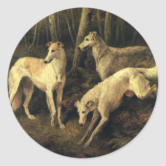 Vintage Animals, Greyhound Dogs in the Forest Round Sticker