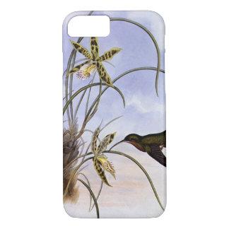 Vintage Animals, Hummingbird Bird Orchid Flowers iPhone 7 Case
