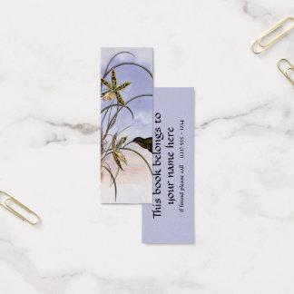 Vintage Animals, Hummingbird Bird Orchid Flowers Mini Business Card