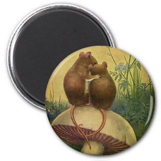 Vintage Animals, Love and Romance Field Mice 2 Inch Round Magnet
