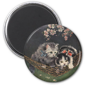 Vintage Animals, Tabby Cat or Kittens in a Hammock 2 Inch Round Magnet