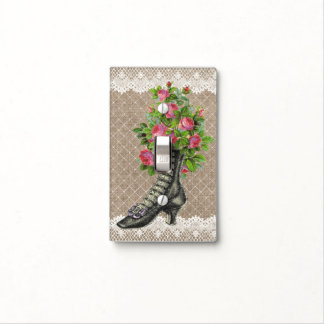 Vintage Ankle Boot Rose Flower Light Switch Burlap