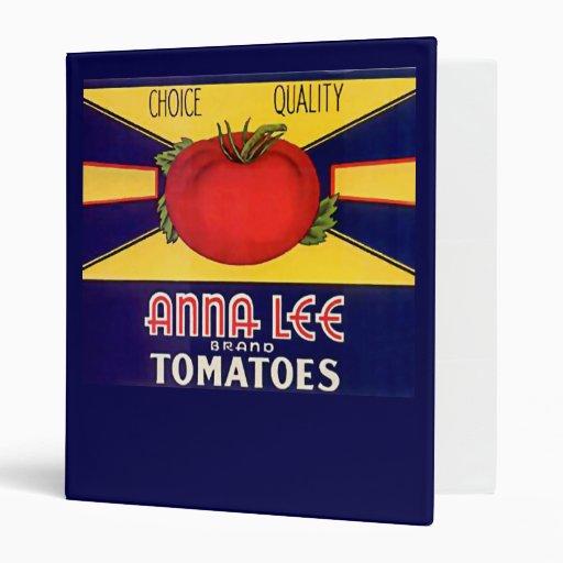 Vintage Anna Lee Brand Tomatoes Label 3 Ring Binder