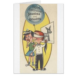 Vintage Anniversary For Grandma And Grandpa Card