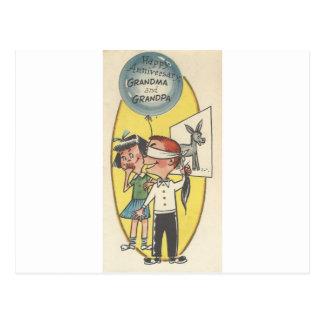 Vintage Anniversary For Grandma And Grandpa Postcard