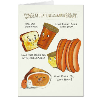 Vintage Anthropomorphic Anniversary Card