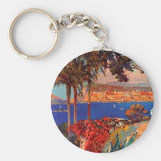 Vintage Antibes Cote D'Azur Travel Basic Round Button Keychain