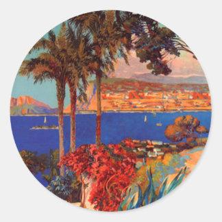 Vintage Antibes Cote D'Azur Travel Round Stickers