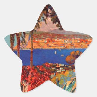 Vintage Antibes Cote D'Azur Travel Star Stickers