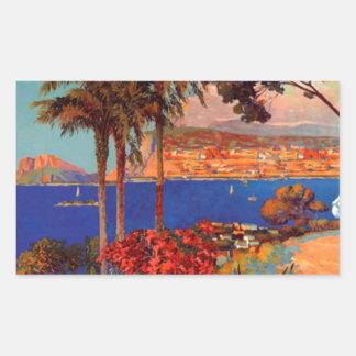 Vintage Antibes Cote D'Azur Travel Rectangle Stickers
