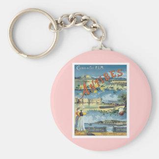 Vintage Antibes Mediterranean Basic Round Button Keychain
