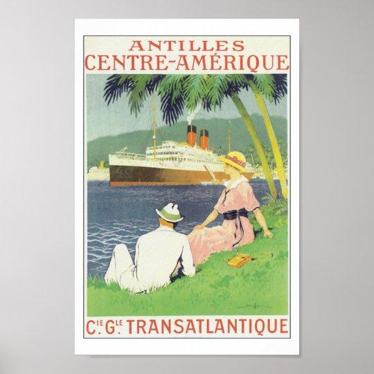 Vintage Antilles America Caribbean Travel Poster