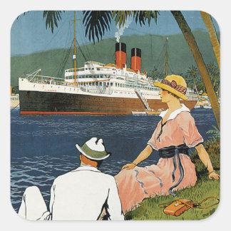Vintage Antilles Cruise Art Square Sticker