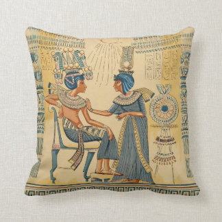 Vintage Antique Ancient Egyptian Royalty Throw Pillow