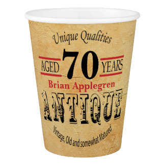 Vintage, Antique and 70th Birthday Design Paper Cup