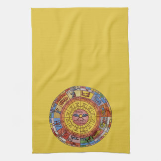 Vintage Antique Astrology, Celestial Zodiac Wheel Kitchen Towel