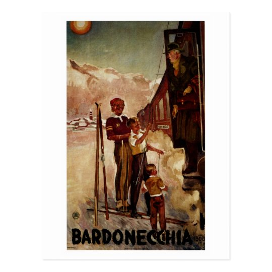 Vintage antique Bardonecchia Italian travel Postcard