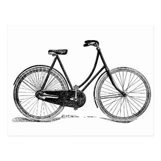 Vintage Antique Bicycle Silhouette Illustration Postcard