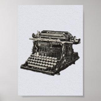 Vintage Antique Black Old Fashioned Typewriter Poster