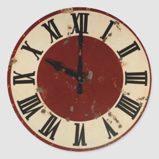 Vintage Antique Clock Face Distressed Classic Round Sticker