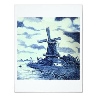 Vintage Antique Delft Blue Tile - Windmill Custom Announcements