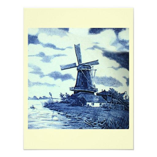 Vintage Antique Delft Blue Tile - Windmill Personalized Invitations