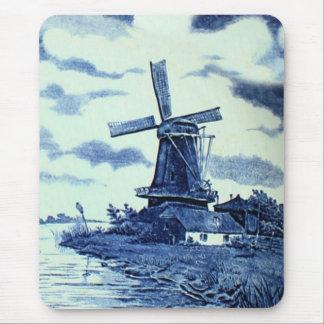 Vintage Antique Delft Blue Tile - Windmill Mouse Pad