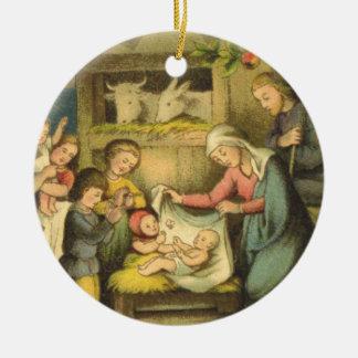 Vintage/Antique-Design Nativity Christmas Ornament