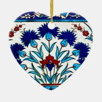 Vintage Antique Floral Abstract Turkish tiles Ceramic Heart Ornament