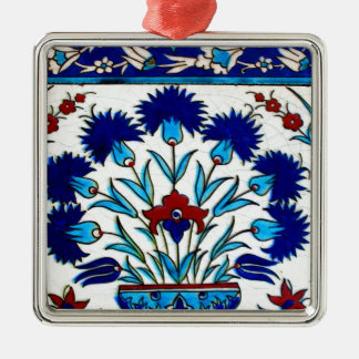 Vintage Antique Floral Abstract Turkish tiles Silver-Colored Square Ornament