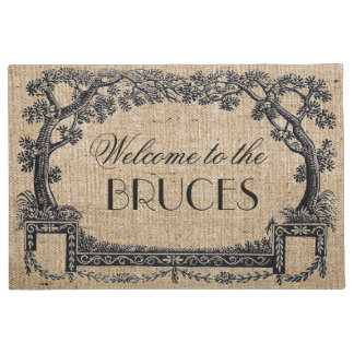 Vintage Antique French Tree Frame Personalized Doormat