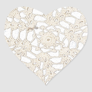 Vintage Antique Handcrafted Tatting Custom Heart Sticker