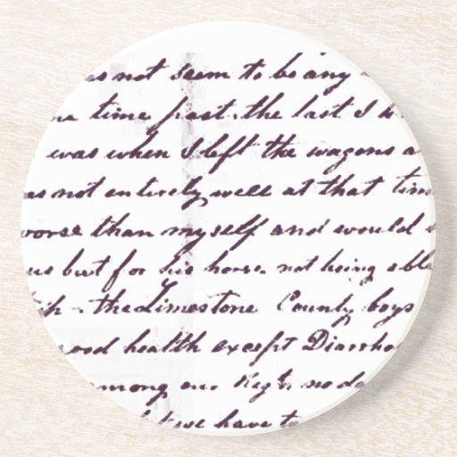 Vintage Antique Handwriting Beverage Coaster