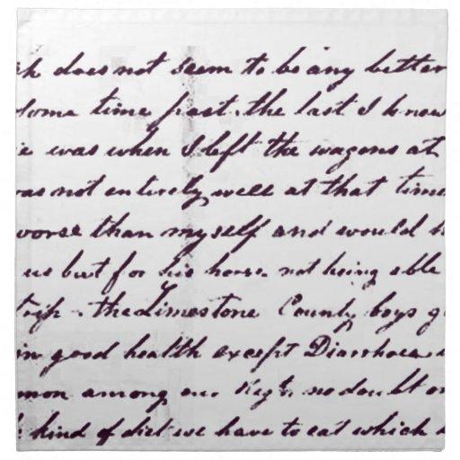 Vintage Antique Handwriting Printed Napkins