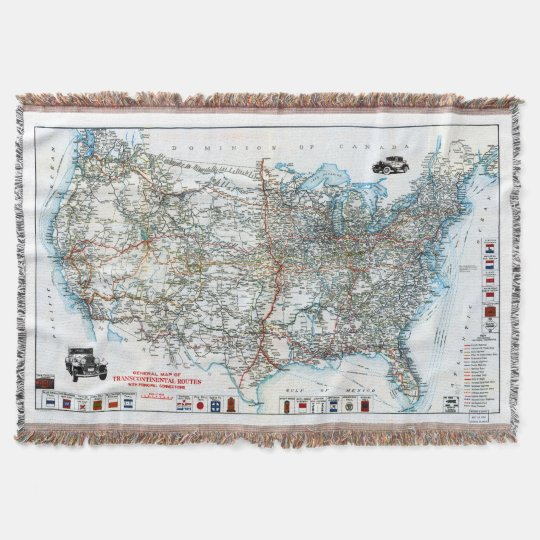 Vintage Antique Highway Map of the USA Throw Blanket