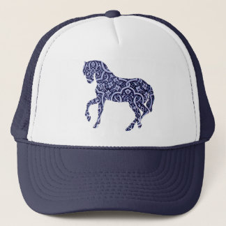 Vintage Antique Horse Pattern Decorative Design Trucker Hat