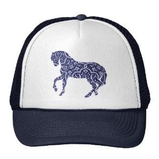 Vintage Antique Horse Pattern Decorative Design Trucker Hat