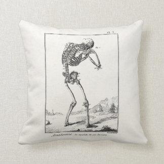 Vintage Antique Human Skeleton Medical Anatomy Throw Pillow