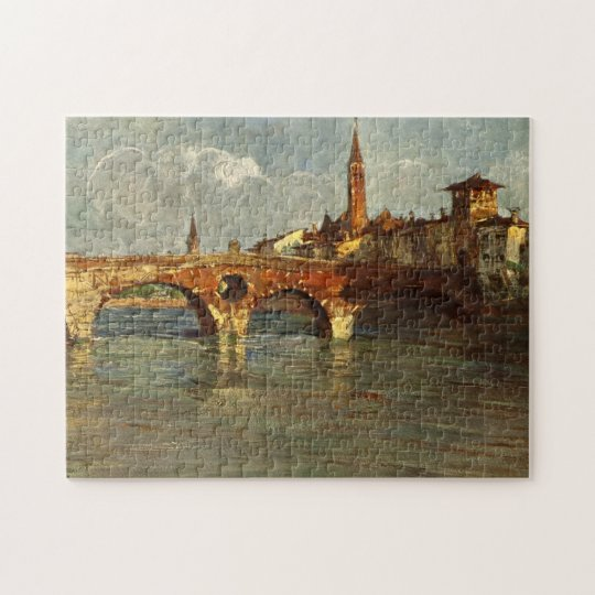 Vintage Antique Italy Verona Roman Bridge Jigsaw Puzzle