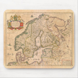 Vintage Antique Map of Old Scandinavia Mouse Pad