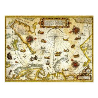 Vintage Antique Map of Willem Barentsz Voyage Postcard