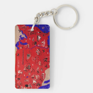 Vintage Antique Map United States of America, USA Double-Sided Rectangular Acrylic Keychain