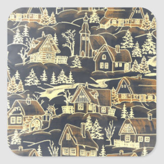 Vintage Antique Merry Christmas Holiday Village Square Sticker